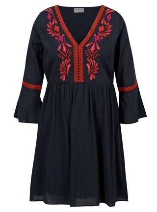 Tmavomodré šaty s výšivkou VILA Anaya
