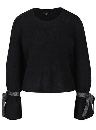 Pulover negru cu funde decorative pe maneci - TALLY WEiJL