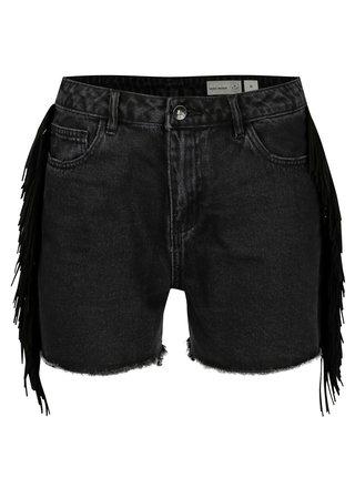 Pantaloni scurti negri din denim cu franjuri laterale - VERO MODA Anna