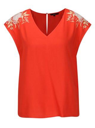 Bluza rosie cu broderie florala  VERO MODA Evy