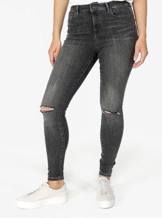 6314fa2594a Šedé džíny s potrhaným efektem a vysokým pasem VERO MODA Sophia