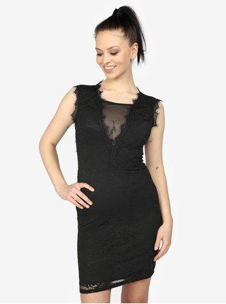 Čierne čipkované šaty s prestrihom na chrbte Haily's Ruby