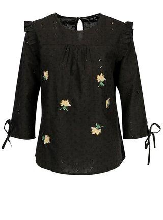Bluza neagra cu broderie si maneci 3/4 - Dorothy Perkins