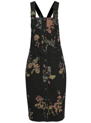 Čierne kvetované rifľové šaty s trakmi Noisy May Jenny