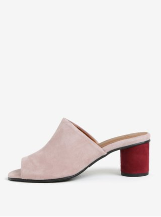 Světle růžové semišové pantofle na podpatku Selected Femme Merle