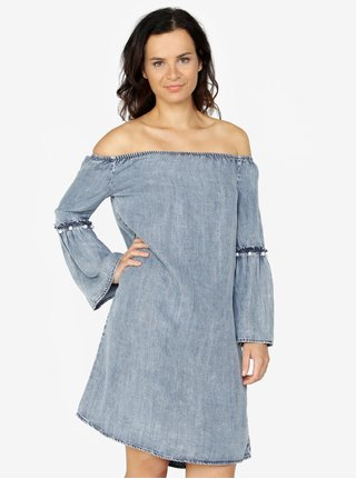 Tmavomodré šaty s odhalenými ramenami ONLY Vilde