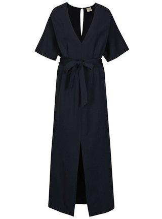 Tmavě modré dlouhé šaty Selected Femme Kimm