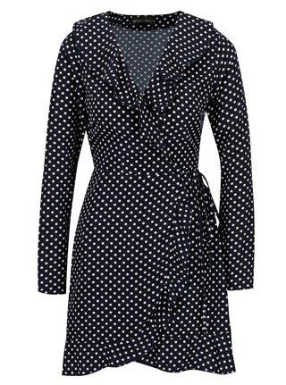 Tmavomodré bodkované zavinovacie šaty s volánmi Mela London