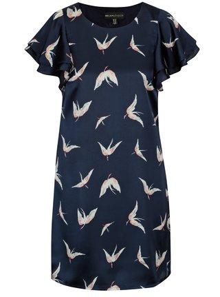 Tmavomodré saténové šaty so vzorom vtákov Mela London