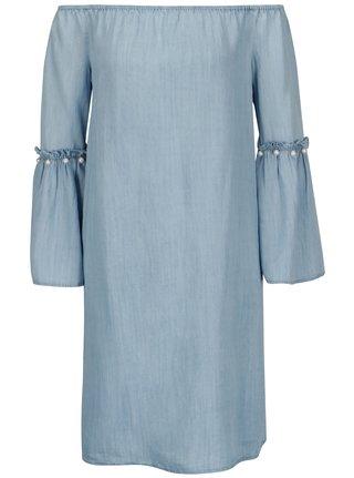 Světle modré šaty s odhalenými rameny ONLY Vilde