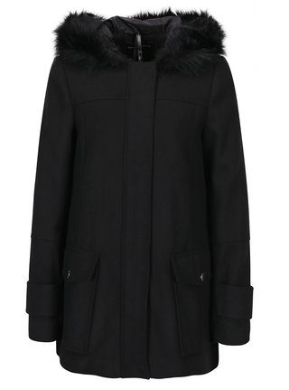 Čierny krátky kabát s kapucňou Dorothy Perkins