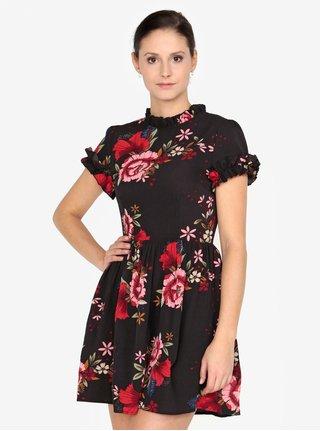 Čierne kvetované šaty s krátkym rukávom AX Paris