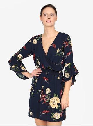 Tmavomodré kvetované šaty s prekladaným výstrihom AX Paris