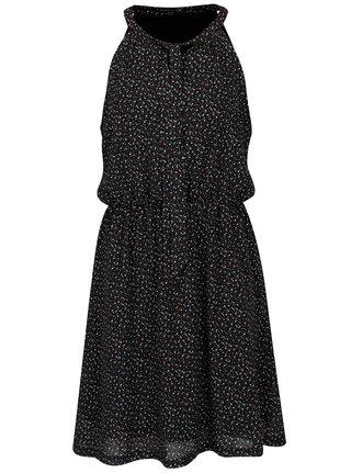 Čierne vzorované šaty s mašľou Smashed Lemon