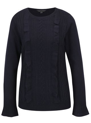 Tmavomodrý sveter s volánmi Dorothy Perkins