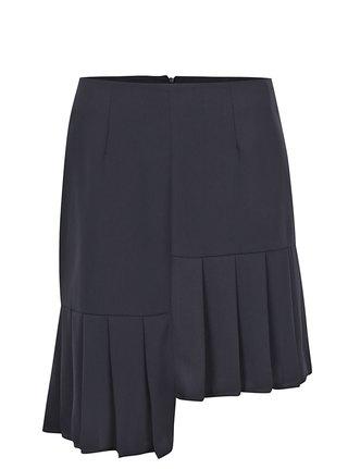Tmavomodrá asymetrická sukňa s volánmi VILA Inez