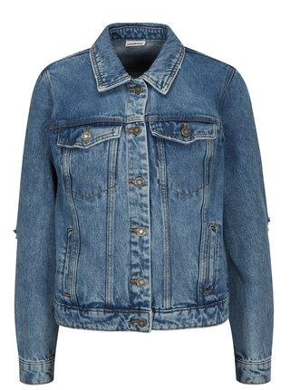 Jacheta albastra din denim cu aplicatie si aspect deteriorat - Noisy May Cille