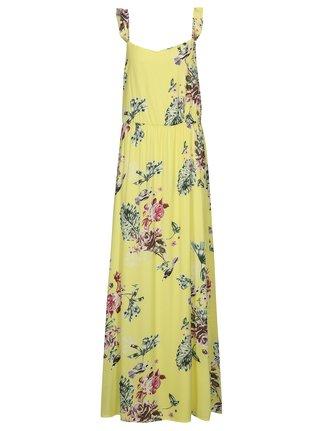 Žlté kvetované maxišaty s volánmi VILA Tetri