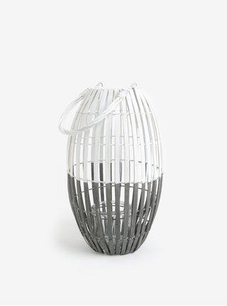 Hnědo-bílá dřevěná lucerna Dakls