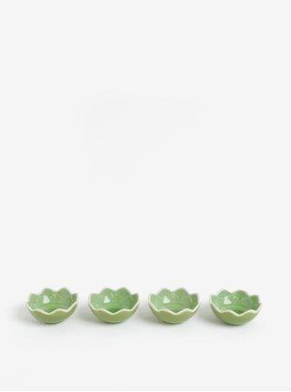 Súprava štyroch mištičiek v zelenej farbe Kaemingk