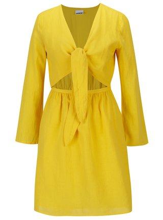 Žlté šaty s prestrihom na bruchu Noisy May Paci