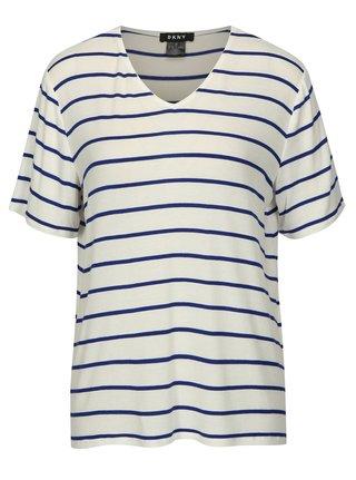 Tricou cu dungi crem cu albastru DKNY