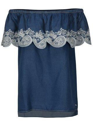 Tmavě modrá halenka s odhalenými rameny DKNY
