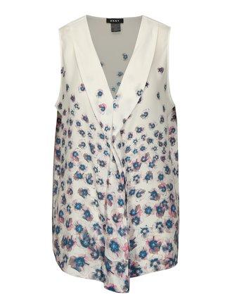Camasa crem fara maneci cu print floral DKNY