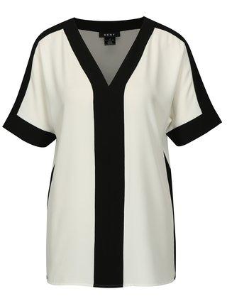 Bluza alb cu negru cu croi lejer DKNY