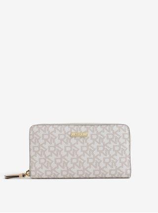 Krémová vzorovaná veľká peňaženka DKNY