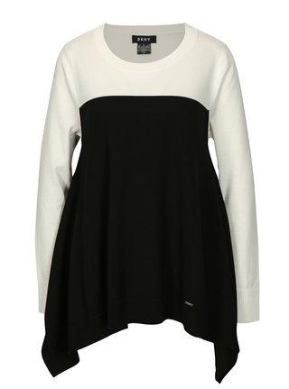 Bluza asimetrica alb cu negru DKNY
