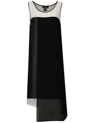 Rochie asimetrica alb-negru fara maneci DKNY