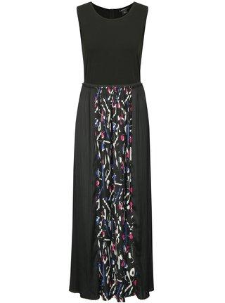 Čierne maxišaty s plisovanou sukňou DKNY