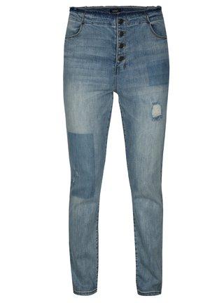 Světle modré straight džíny s vysokým pasem DKNY