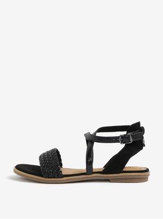 Černé dámské kožené lesklé sandály s.Oliver