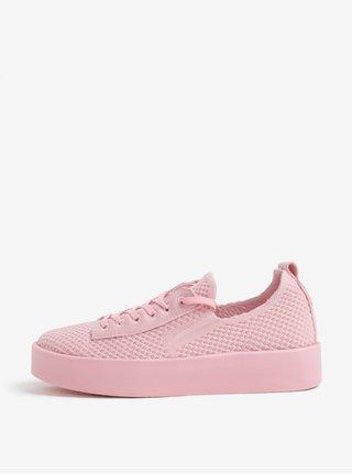 Ružové dámske pletené tenisky na platforme s.Oliver