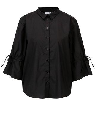 Čierna voľná košeľa s 3/4 rukávom Jacqueline de Yong Cady