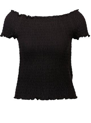 Čierny crop top s odhalenými ramenami ONLY Sammi