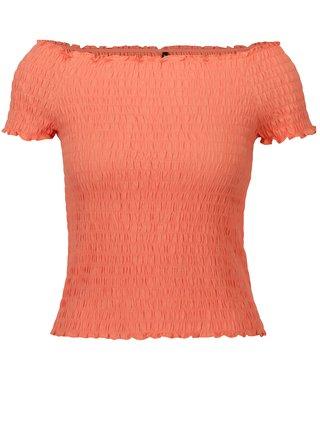 Bluza cropped portocalie cu umeri expusi ONLY Sammi