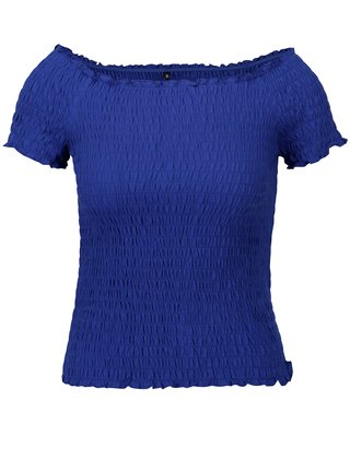 Modrý crop top s odhalenými ramenami ONLY Sammi