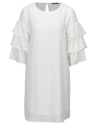Biele šaty s volánmi na rukávoch ONLY Caroline