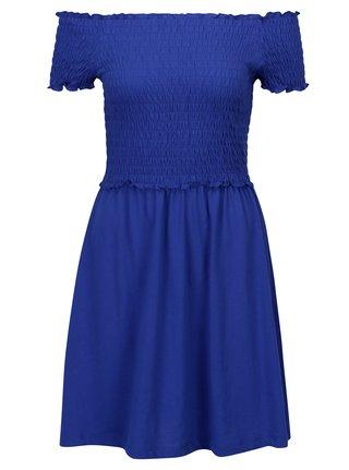 Tmavomodré šaty s odhalenými ramenami ONLY Naomi
