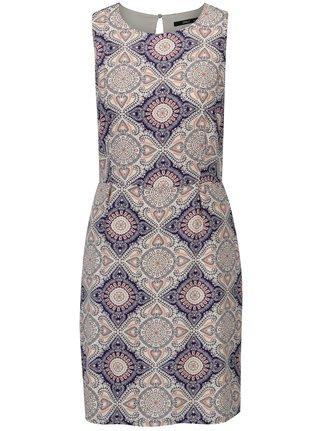 Rochie crem&bleumarin cu print ornamental ONLY Nova Caroline