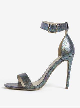 Sandale argintii cu toc cui si bareta pe glezna MISSGUIDED