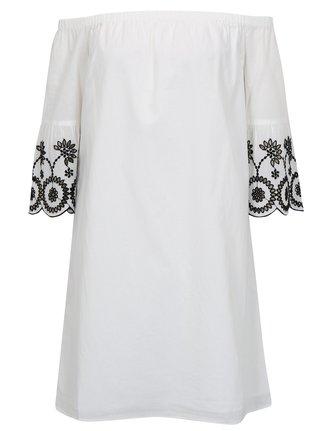 b87016bd938f Biele šaty s odhalenými ramenami a výšivkou Dorothy Perkins