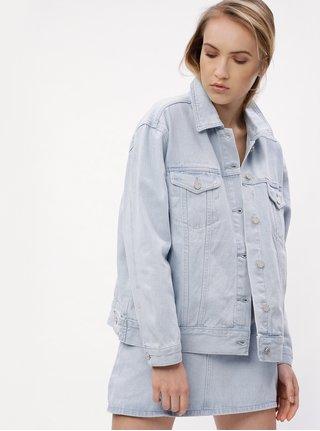 Světle modrá džínová oversize bunda MISSGUIDED