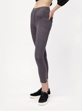 Šedé skinny džíny s vysokým pasem MISSGUIDED