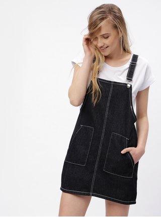 Čierne rifľové šaty s trakmi MISSGUIDED