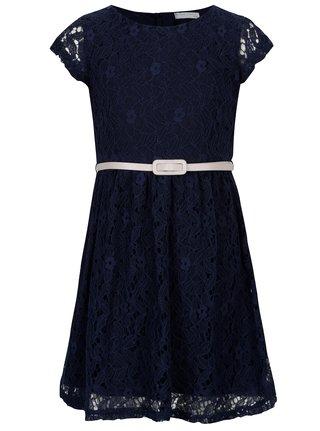 Tmavomodré čipkové šaty s opaskom 5.10.15.