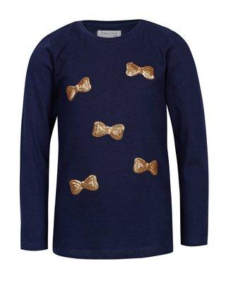 Tmavomodré dievčenské tričko s flitrami v tvare mašlí 5.10.15.